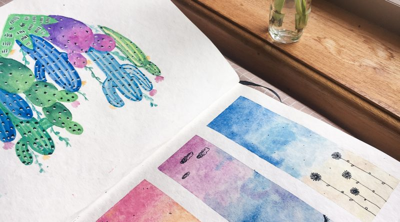 Image is of art sketchbook with two watercolour paintings.