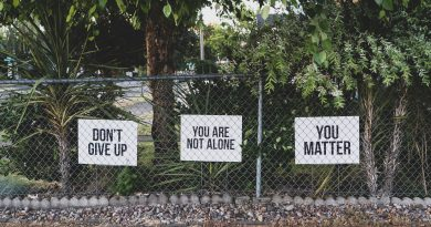 "Image is of public fence with motivational signs reading ""Don't give up"", ""You are not alone"" and ""You matter""."