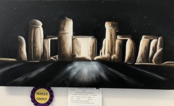 Painting of Stone Henge by member of the Forest Lake Men's Shed, winner of People's Choice Award